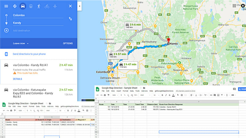 Automate Google Sheet to get Google Map Travel Time and ... on google map path, google map content, google map mexico, google map route, google map distance, google map australia, google map history, google map contact, google map people, google map canada, google map europe, google map india, google map garden, google map tour, google map art, google map commercial, google map itinerary, google map france, google map city, google map lake,