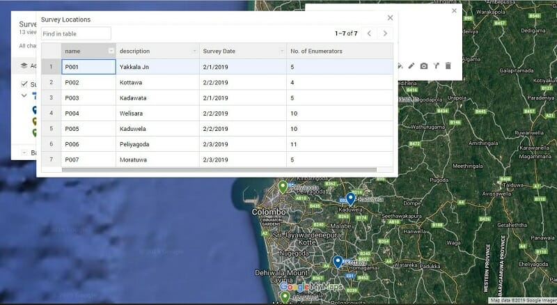 Export Google Map Data Table to MS Excel