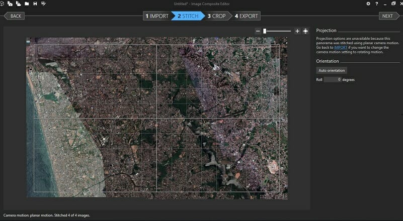 Stitching Google Map Images with Image Composite Editor