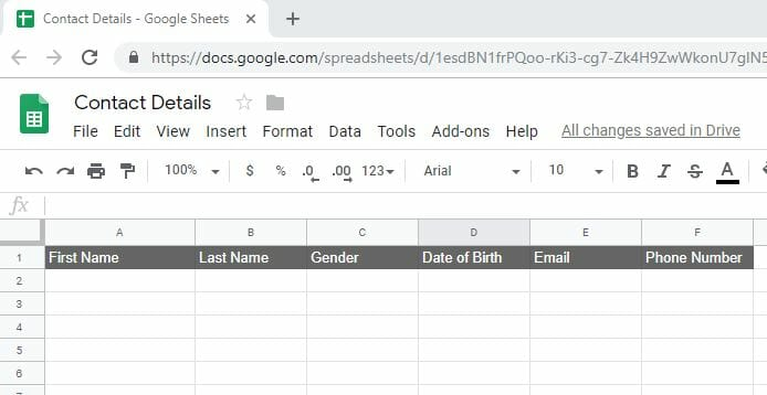 Creating a New Google Sheet and Name the Columns