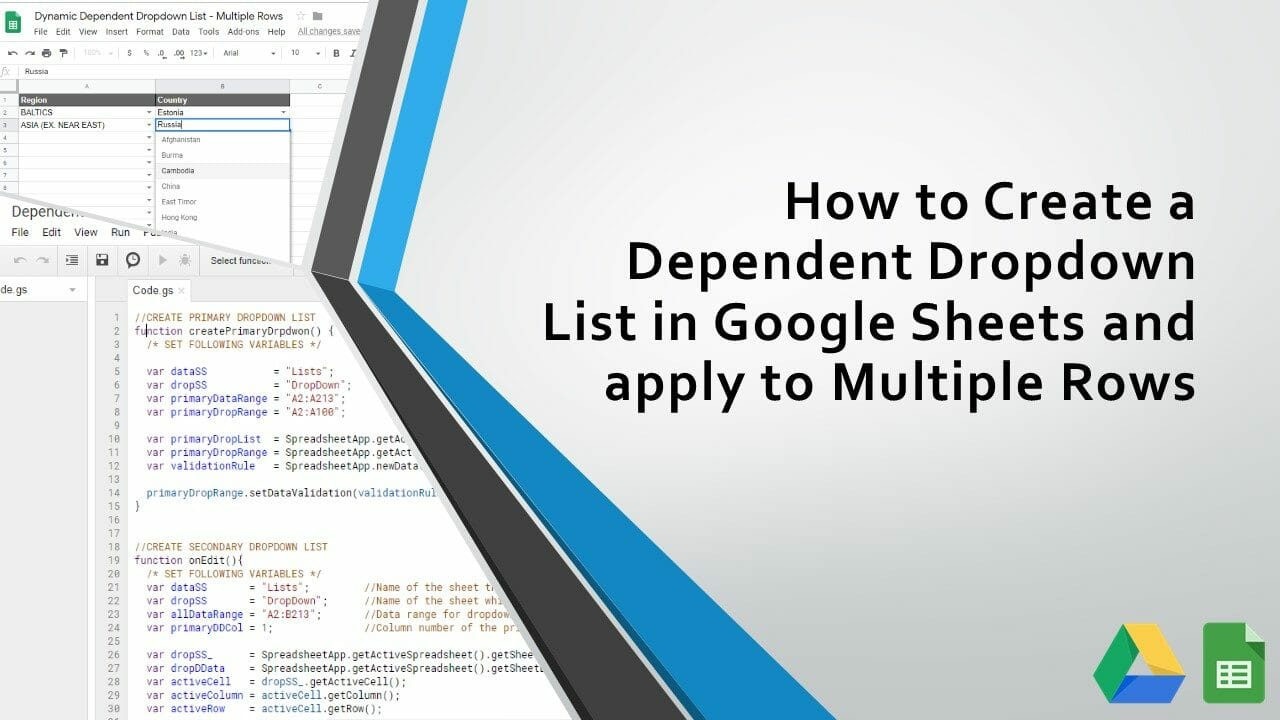 How to Create a Dependent Dropdown List in Google Sheets and