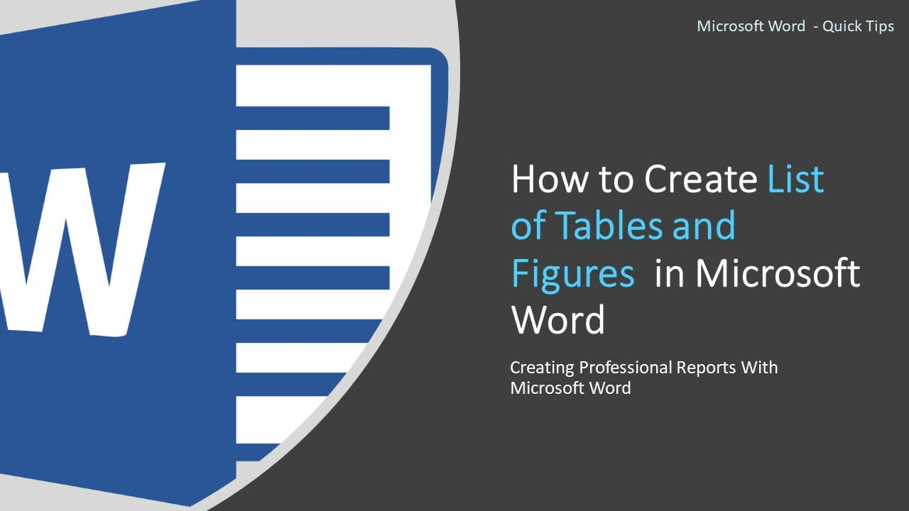 How to create list of tables and figures in Microsoft Word