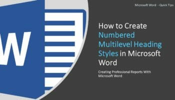 Numbered Multilevel Heading Styles in Microsoft Word