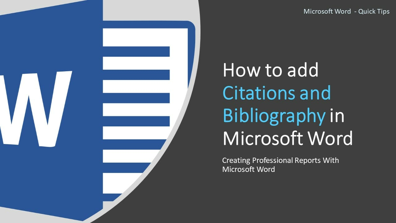 add Citations and Bibliography in Microsoft Word