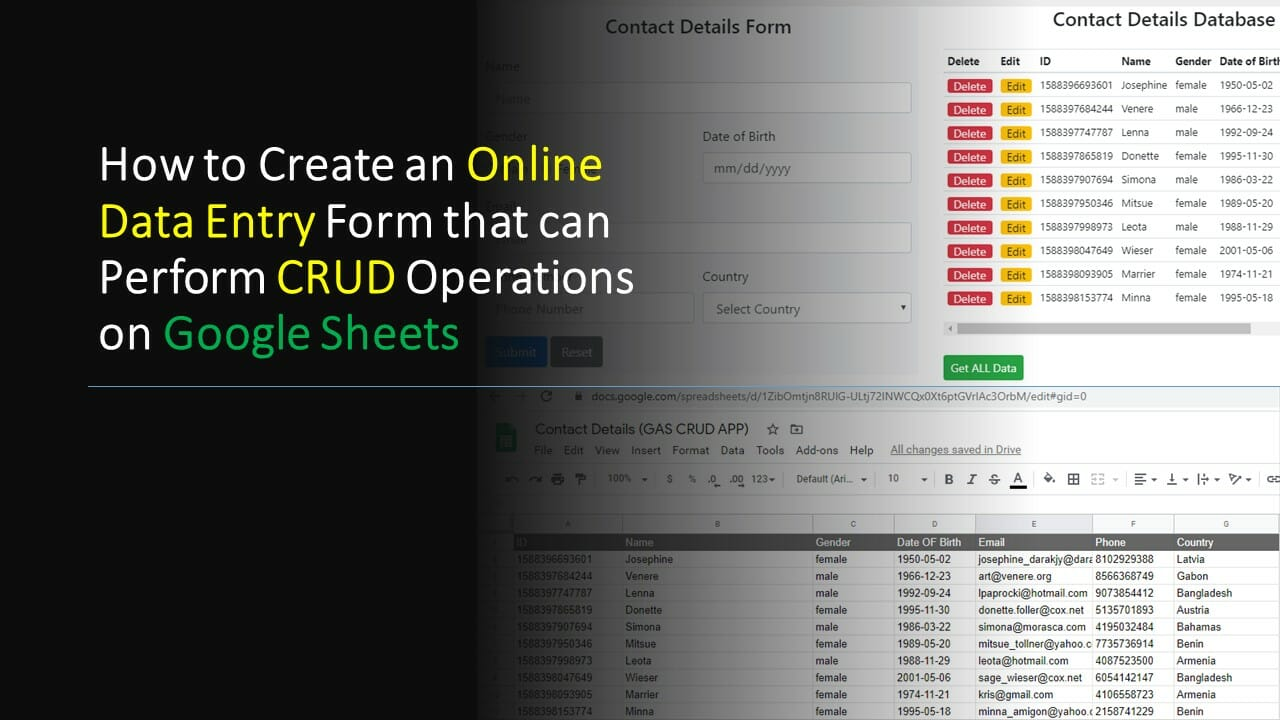 How to Create an Online Data Entry Form that can Perform CRUD Operations on Google Sheets