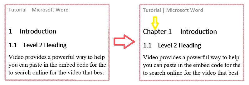 Add prefix text to MS Word heading numbering