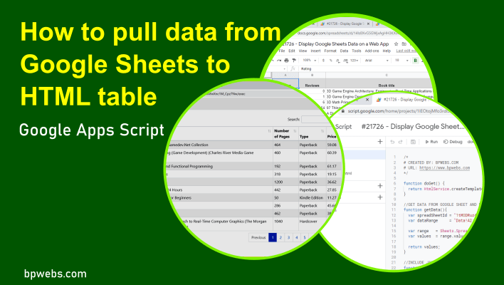 How to pull data from Google Sheets to HTML table