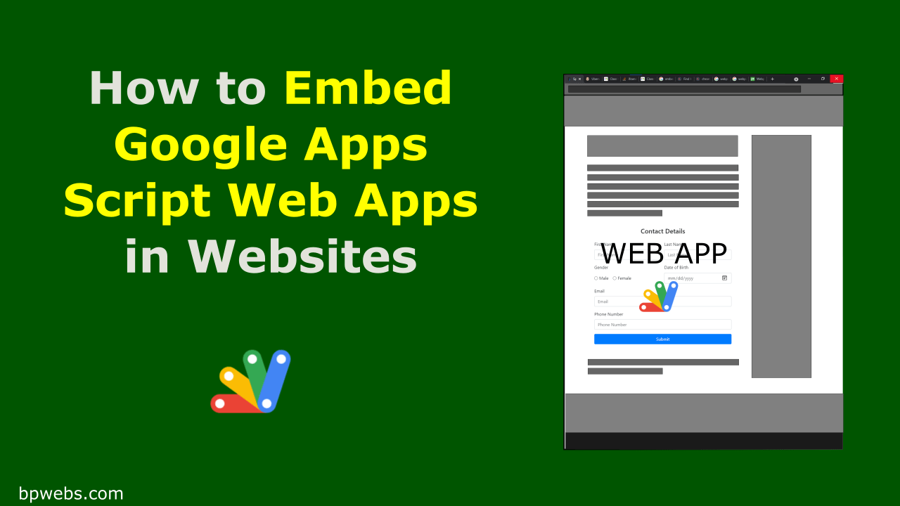 How to Embed Google Apps Script Web Apps in Websites
